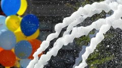 The Fountain Work in Slow Motion. Frame Closeup. Water Spray Scatter in Stock Footage
