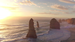 AERIAL: The majestic Twelve Apostles along the rocky Australian ocean shore - stock footage