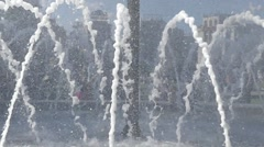 the Fountain Work in Slow Motion. Frame Closeup. Water Spray Scatter in - stock footage