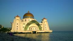 Masjid Selat Melaka for muslim worsh Stock Footage