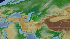 Turkmenistan - 3D tube zoom (Mollweide projection). Bumps shaded Stock Footage