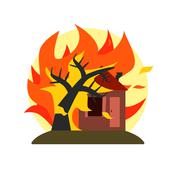 Burning Tree Falling On House Natural Force Sticker - stock illustration