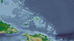 Turks and Caicos Islands - 3D tube (Kavrayskiy VII projection). Bumps shaded Stock Footage