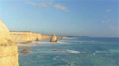 AERIAL: Flying along famous limestone formations rising from shallow ocean Stock Footage