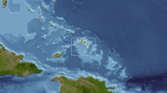 Turks and Caicos Islands - 3D tube (Kavrayskiy VII projection). Satellite Stock Footage