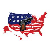 American Flag With Bullet Holes And Gun Vector Stock Illustration