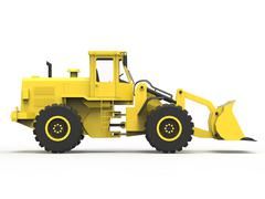 Excavator on a white uniform background. Backhoe loader. 3d illustration Stock Illustration