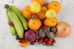 Mix fruits background.Healthy eating, dieting concept, clean eating. - stock photo
