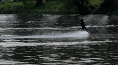 Little Wakeboarder in the Park For Wakeboarding. Slow Motion. Stock Footage