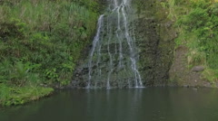 Aerial of Waterfall at KareKare, Auckland Stock Footage
