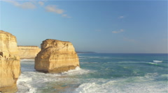 AERIAL: Flying along stunning limestone formations rising from shallow ocean Stock Footage