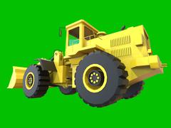 Excavator on a green uniform background. Backhoe loader. 3d illustration Stock Illustration