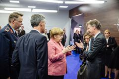 German Chancellor Angela Merkel at NATO summit in Poland Stock Photos