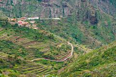 Masca valley from La Cruz de Hilda viewpoint - stock photo