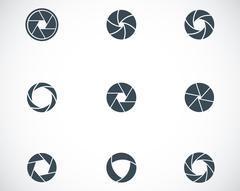 Vector black camera shutter icons set - stock illustration