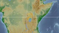 Uganda - 3D tube zoom (Kavrayskiy VII projection). Bumps shaded - stock footage