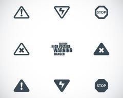 Vector black danger icons set Stock Illustration