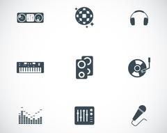 Vector black dj icons set Stock Illustration