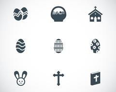 Vector black easter icons set - stock illustration