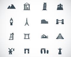 Vector black landmark icons set Stock Illustration
