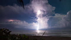 4K-UHD Extreme Lightning Storm Timelapse Over The Ocean Under Moonlight Arkistovideo