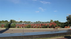 Panorama of a courtyard of the Brest fortress. Stock Footage
