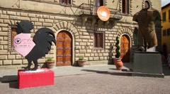 Greve in Chianti main square, the Town Hall, Tuscany, Italy Stock Footage