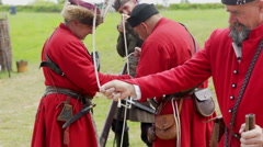 Soldiers in red jackets Stock Footage