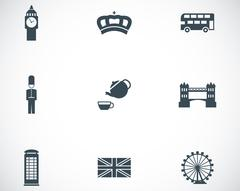 Vector black london icons set Stock Illustration