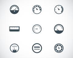 Vector black meter icons set - stock illustration