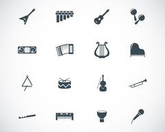 Vector black music instruments icons set Stock Illustration