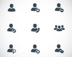 Vector black people icons set Stock Illustration