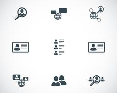 Vector black people search icons set - stock illustration