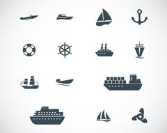 Vector black ship and boat  icons set Piirros