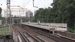 Allegro EMU train from Helsinki runs to Saint Petersburg Stock Footage