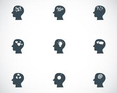 Vector black thoughts icons set Stock Illustration