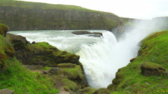 Gullfoss Waterfalls is one of the most popular tourist attractions Stock Footage