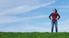 4K Attractive male takes in the view before walking off, with space for text Stock Footage