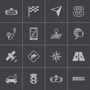 Vector black navigation icons set Stock Illustration