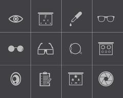 Vector black  optometry  icons set - stock illustration