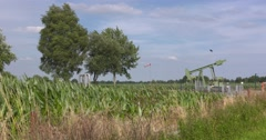 Pump jack in rural area, close to the Dutch / German border Stock Footage