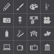 Vector black art icons set Stock Illustration