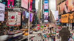 Timelapse of Famous Times Square in Manhattan, New York City, USA - Zoom Out Stock Footage