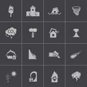 Vector black  disaster icons set Piirros