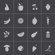 Vector black fruits and vegetables icons set Stock Illustration