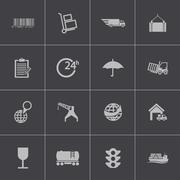 Vector black  logistic icons set Stock Illustration