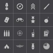 Vector black  military icons set Stock Illustration