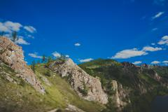 "Hiking trail ""Path of the ancestors"" in Khakassia Stock Photos"