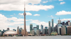 Timelapse View of Toronto Skyline with CN Tower, Ontario, Canada - Zoom Out - stock footage