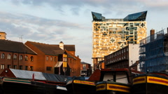 Birmingham, England. Time lapse of the canal and The Cube building sunset 4K Stock Footage
